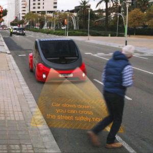 """""""Oasis"""" denkt mit: Die Konzeptstudie gibt Fußgängern den optischen Hinweis, wann die Straße gefahrenlos überquert werden kann."""