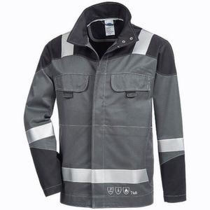 Auf Schultern, Ärmeln, Vorder- und Rückseite der Jacke sind 50 mm breite 3M-Scotchlite-Reflexstreifen angebracht.