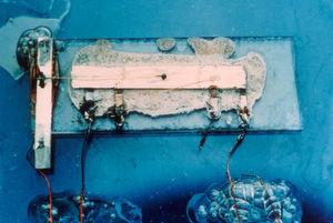 Der erste von Jack Kilby entwickelte integrierte Schaltkreis: Texas Instruments hatte den Mikrochip seit 1958 im Portfolio, es fanden sich jedoch kaum Interessenten. Jack Kilby sollte den auf vier ICs basierenden Taschenrechner entwickeln, um einen Anreiz für potentielle Entwickler miniaturisierter Elektronikprodukte zu bieten.