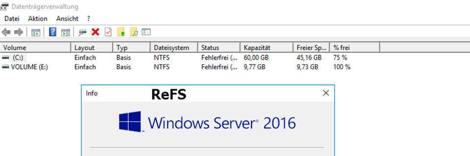 Das Resilent/Reliable File System (ReFS) ist sehr einfach nutzbar und sollte für bestimmte Einsatzgebiete auf jeden Fall verwendet werden.
