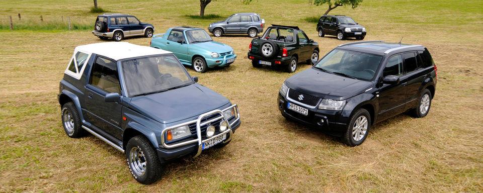 Seit einem halben Jahrhundert schrumpft Suzuki Allradler in deutlich kleinere Formate. Die wichtigsten Modelle im Überblick.