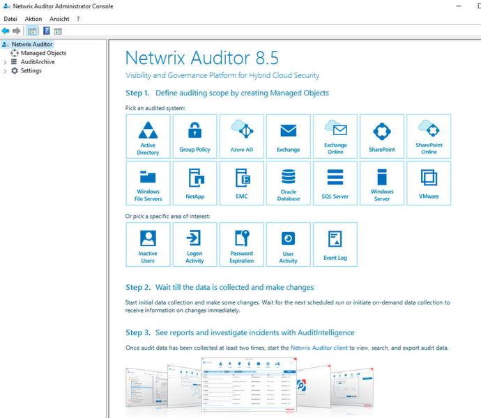 Nachdem Netwrix Auditor installiert wurde, lassen sich über die Netwirx Auditor Administrator Console die verschiedenen Bereiche