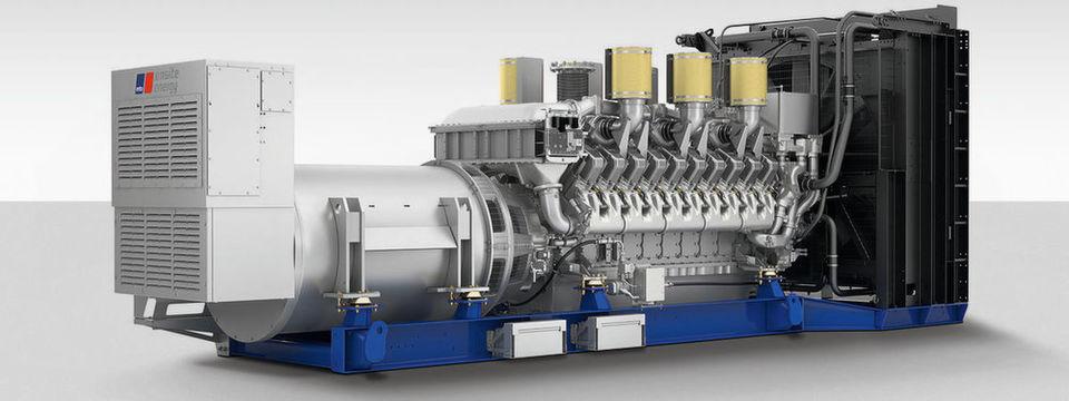 Das abgebildete Notstromaggregat basiert auf einem 20-Zylinder-Motor der Baureihe 4000. Es liefert eine elektrische Leistung von 2.480 Kilowatt.