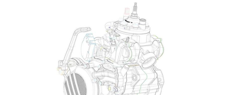 Nicht nur für KTM eine kleine Revolution: ein Zweitakt-Motor mit Kraftstoff-Direkteinspritzung.