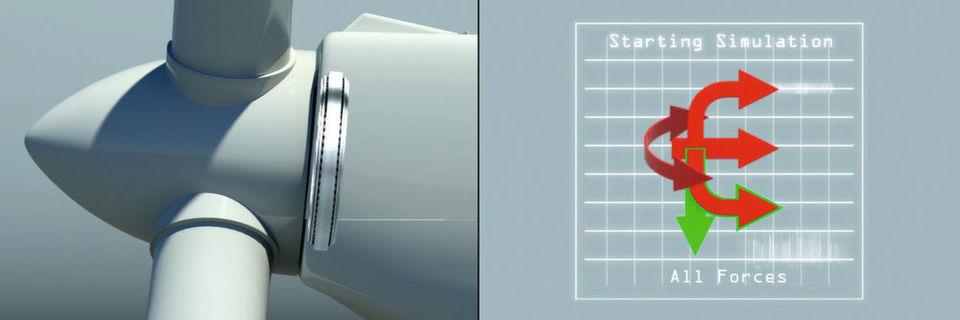 Die Lagerung der Rotorwelle ist unterschiedlichen dynamischen Lasten ausgesetzt: Radial- und Axialkräften sowie Nick- und Giermomenten.