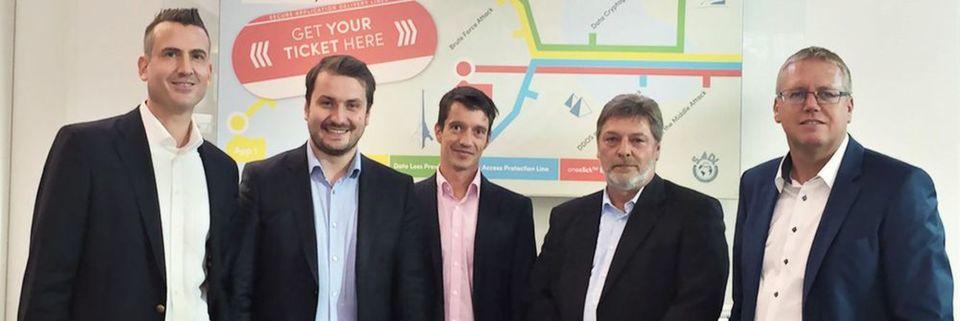 Sie haben eine Technologiepartnerschaft vereinbart (v. l.): Dominik Birgelen, Florian Bodner, Mathias Meinke (alle Oneclick), Matthias Jablonski (Kiwiko) und Stefan Rupp (ProLan).