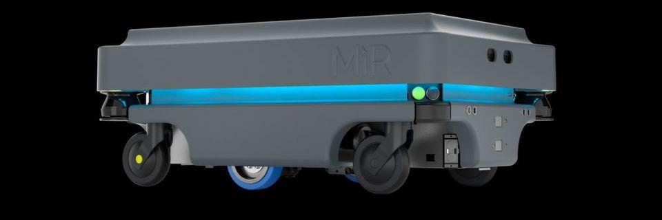 Der Mobilroboter MiR200 verfügt über eine erhöhte Nutzlast von 200 kg sowie eine Zugkraft von 500 kg.
