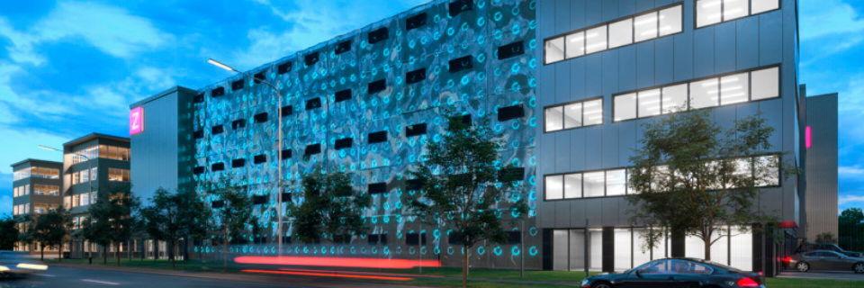 Eine Straßenfront des künftigen Rechenzentrums Frankfurt Two von Zenium