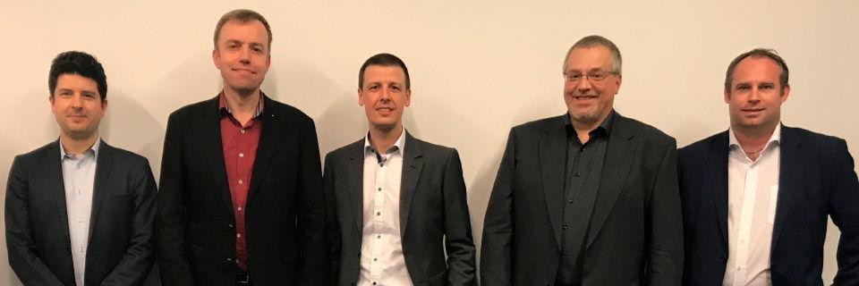 Das erste Audeg-Board: Ingo Wolff, Johannes Loxen, Boban Krsic, Torsten Allar und Michael Schmid