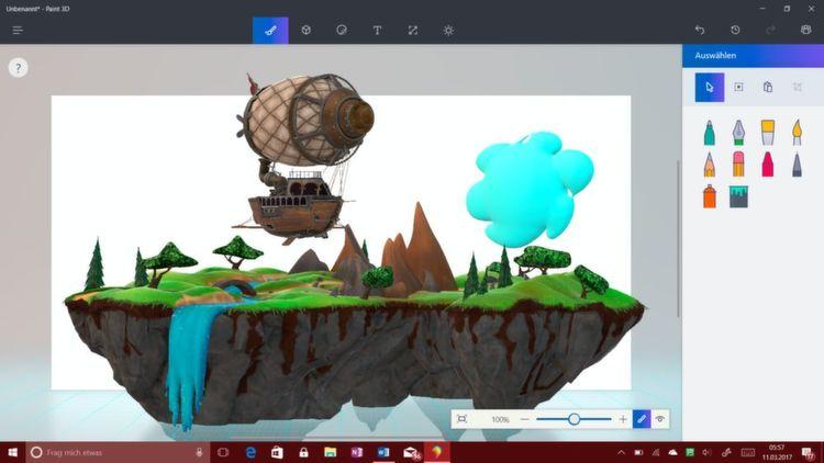 Mit Paint 3D kann man nun auch 3D-Objekte erstellen oder bearbeiten.