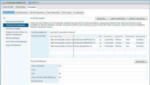 Bei der Erstkonfiguration von VUM lässt sich unter anderem Einstellen, wann udn wie oft verfügbare Patches heruntergeladen werden.