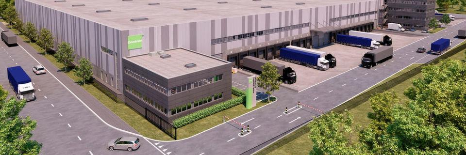 Visualisierung des neuen Goodman-Logistikzentrums im Hamburger Hafen.