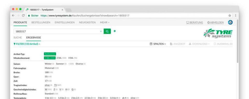 Auf der TyreSystem-Suchergebnisseite können Nutzer zentral Informationen zu den einzelnen Produkten abrufen. (Preise ohne Gewähr)