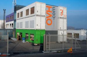In Straßburg betreibt OVH eine Container-Rechenzentrum, hier eine Aufnahme während des Baus.