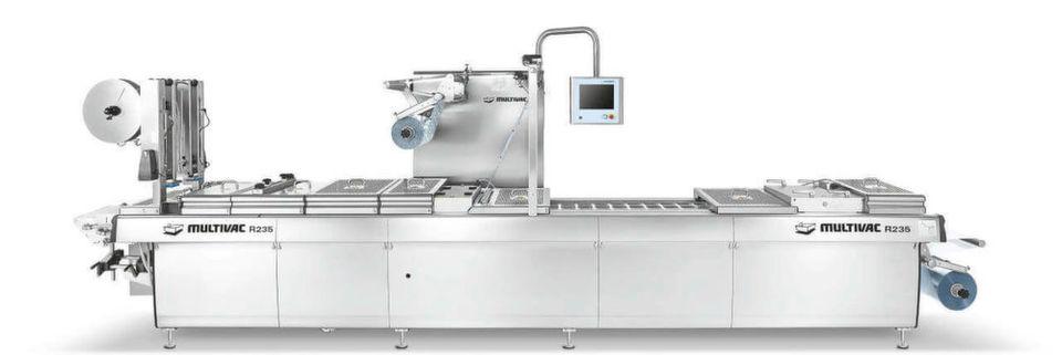 Maschinen von Multivac, hier die Tiefziehverpackungs- maschine R 235, werden unter anderem zur Verpackung von Lebensmitteln eingesetzt.