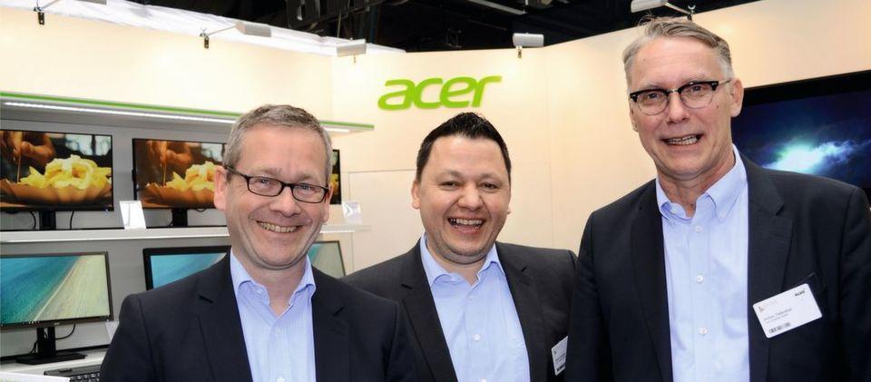 Den Acer-Managern (v. l.) Carsten Dreißig, Gerit Günther und Stefan Tiefenthal ist daran gelegen, die Zusammenarbeit mit Partnern einfach und unbürokratisch zu gestalten.