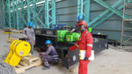 Die in Künzelsau gefertigte Krantechnik (Seilzug AS 7 und Seilzug SH als Hilfshubwerk) erreicht das Werk von General Electric in Ghana.
