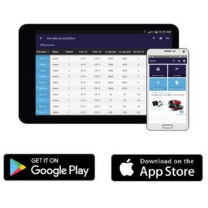 Die kostenlose ST Op Amps von ST Microelectronics ist in den App-Stores von Android und Apple verfügbar und besitzt neue Features für die Auswahl und Verwendung von Operationsverstärkern von ST.