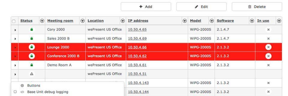 Zustand und Status jedes einzelnen Geräts können mit der Collaborative Management Suite überwacht werden.