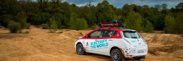 "Nissan LEAF AT-EV (All Terrain Electric Vehicle): Im Elektroauto von Europa nach Asien startete ""Plug In Adventures"" 2017 mit einem Nissan Leaf bei der Mongol Rally."