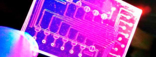 Vorsichtig hält Professor Peter Ertl den winzigen Bio-Chip zwischen zwei Fingern, den er an der TU Wien entwickelt hat. Die integrierten Strukturen, so unscheinbar sie auch wirken, können künftig Messdaten ermitteln, für die bisher ein Labor mit hochqualifiziertem Personal benötigt wird