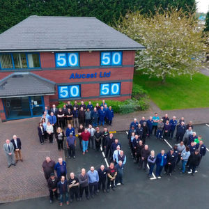 Members of staff celebrate 50 years in business for Alucast.