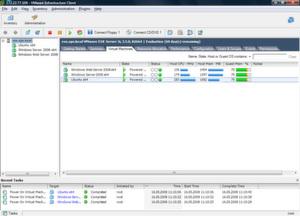 Übersicht installierter virtuellen Maschinen im VI Client von Vmware Infrastructure