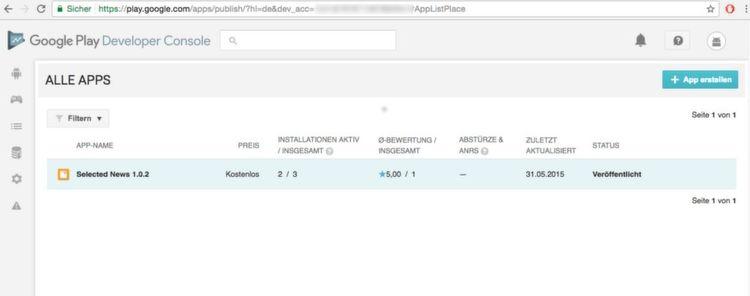 Im Google Play Store wird im Developer Account die selbstentwickelte App zur Verfügung gestellt. Hier im