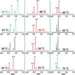 Abb.2: Chromatogramme der Trennung von vier Konservierungsstoffen bei 12 verschiedenen Temperaturen. Säule: Thermo Scientific Acclaim RSLC Polar Advantage II, 2.2 µm, 30 x 2.1 mm, Eluent: H2O mit 20 mM Natriumphosphat bei pH=7 / MeOH, 50/50 v/v H2O/MeCN, Flussrate: 0.45 ml/min, Detektion: UV @ 244 nm, Injektionsvolumen: 1 µL, Analytkonzentration 10 mg/l, Peaks: (1) Dimethylphthalat, (2) Methylparaben, (3) Methylbenzoat, (4) Ethylparaben