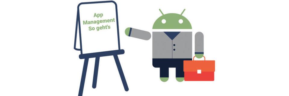 Über den Google Play Store können sowohl Standard Apps als auch Eigenentwicklungen auf die Geräte verteilt werden.