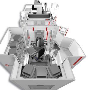 Blick von oben in das Konzept des Handlingsystems HS flex von der Hermle AG, wie es auf der Moulding Expo 2017 vorgestellt wird. Weil nicht nur relativ günstig und kompakt, soll es nach Beschreibungen des Herstellers für die Anwender ein sehr attraktives Produktionsmittel sein.
