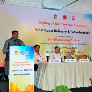 Dharmendra Pradhan, Minister of State (Independent Charge), Petroleum & Natural Gas addressing the gathering at the joint venture agreement signing ceremony for West Coast Refinery & Petrochemicals Complex.