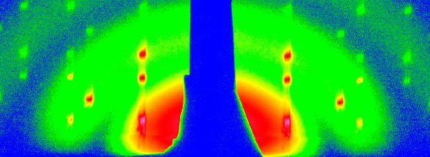 Röntgenstreu-Messung der einsetzenden Kristallisation von gelösten Nanopartikel am Rand des Tropfens.