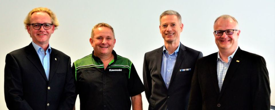 Das neue IVM-Präsidium (v.l.n.r.): Jan Breckwoldt (Peugeot), Jürgen Höpker-Seibert (Kawasaki), Henning Putzke (BMW Motorrad) und Ronald Kabella (Bucher AG/Motorex).