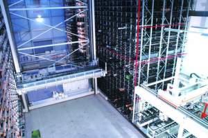 Logistikzentrum mit Waben-Langgutlager und Sawcell.Bild: Kasto