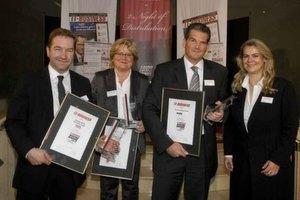 Die Top-3-Distributoren in der Kategorie Broadline-Distribution (v.l.): Gerhard Schulz von Ingram Micro (Silber-Award), Bärbel Schmidt von Actebis Peacock (Platin-Award) und Thomas Kasper von Also Deutschland (Gold-Award).
