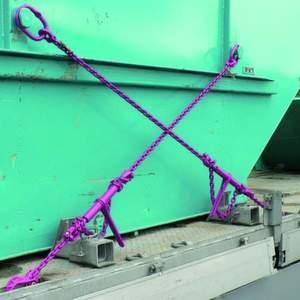 Die so genannte X-Zurrung ist eine geeignete Zurrmethode zur Sicherung von Absetzbehältern in und gegen Fahrtrichtung. Bild: RUD Ketten