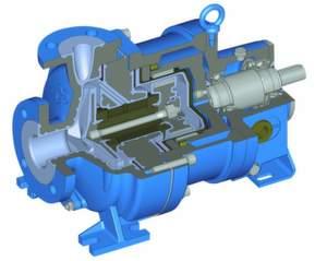 """Die MKPL (MagnetkupplungsPumpe """"Lined"""") ist eine korrosionsfeste, hermetisch dichte Pumpe mit Metallpanzer aus EN-GJS-400-18 (GGG 40.3) und massiver PFA-Auskleidung. Ein Nenndruck von PN 16 sowie eine Vakuumfestigkeit, auch bei hohen Temperaturen bis 200 °C, erlauben ein breites Anwendungsspektrum."""