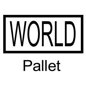 Das Logo im Rechteck ist seit 28. Februar 2009 das eingetragene Markenbild für World-Paletten. Bild: Falkenhahn