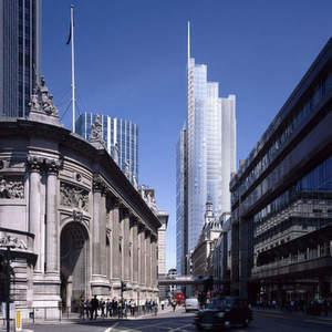 Mit mehr als 200 Metern Gesamthöhe und 46 Stockwerken wird der Wolkenkratzer eines der höchsten Gebäude der Stadt. Mehr als 11000m2 der fachwerkartig gestalteten Gebäudeseiten sind aus Edelstahl. Bild: Thyssen-Krupp