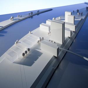 """Das """"Duisport Sky Center"""" auf der Mercatorinsel im Duisburger Hafen soll nach den neuesten Standards des """"Green Building"""" gebaut werden. Bild: Duisburger Hafen"""