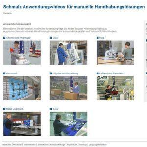 Schmalz zeigt in seiner Mediathek Anwendungsvideos für manuelle Handhabungslösungen. Bild: Schmalz