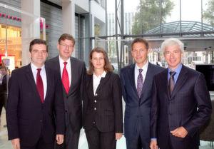 von links: Dr. Axel Wehmeier, Reinhard Clemens, Gabriele Riedmann de Trinidad, René Obermann, Horst Leonberger