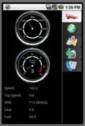 Beispiel einer Android-Automotive-Applikation: Oberfläche eines Tachos (Bild: itemis)