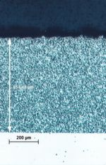 Bild 4: Kennzeichnend für die Verschleißschutzschicht Nicabor (Mitte) ist der hohe Anteil an fein verteilten Borkarbidpartikeln in der duktilen Nickelmatrix.