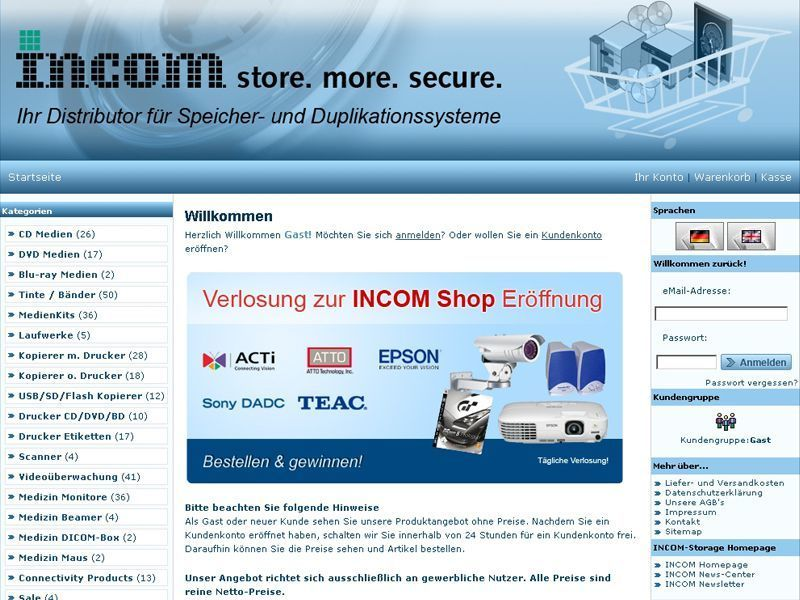 Der Online-Shop von Incom Storage gibt Partnern hhere Flexibilitt.