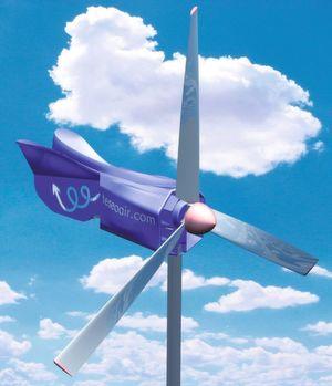 Schon ab Windstärke 3 kann das System Druckluft aus Windenergie erzeugen und in Behältern speichern. Bild: Teseo