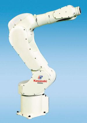 Die automatisierte Bauteilprüfeinrichtung besteht aus den Kawasaki-Robotern FS003 N und RS005H. Bild: Kawasaki