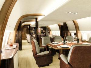 Innenausstattung eines Konferenzraums in einer Boeing 747-400 787. (Bild: Jet Aviation)