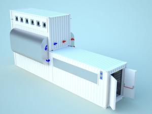 AST Modular packt eine zweite Ebene auf den Container und einen Wäremetauscher dazwischen. Bild: AST Modular